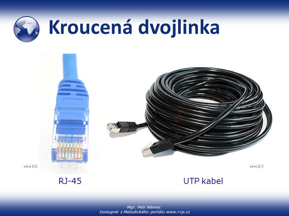 Kroucená dvojlinka zdroj [22] zdroj [20] zdroj [21] RJ-45 UTP kabel